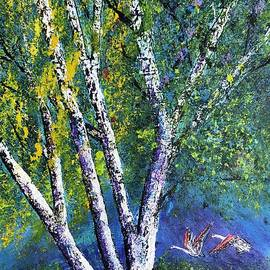 one birch tree and two birds in Pian delle betulle by Jean Fassina