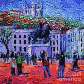 Mona Edulesco - One Tuesday in Lyon - Palette Knife Oil Painting
