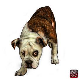 Orange English Bulldog Dog Art - 1368 - Wb by James Ahn