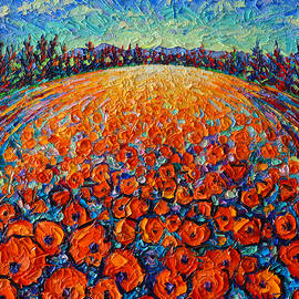 Ana Maria Edulescu - ORANGE POPPIES MAGIC modern impressionist landscape impasto knife oil painting by ANA MARIA EDULESCU