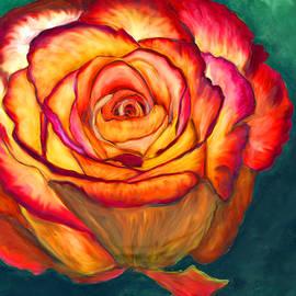 Marcella Chapman - Orange Rose on Green