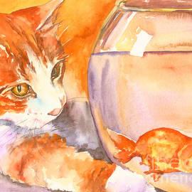 Orange Tabby With Goldfish by Christy Freeman Stark