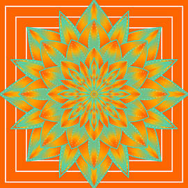 SharaLee Art - Orange Turquoise And Yellow Mandala