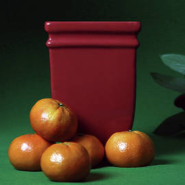 Oranges, Leaves and a Red Vase by Claudia O'Brien