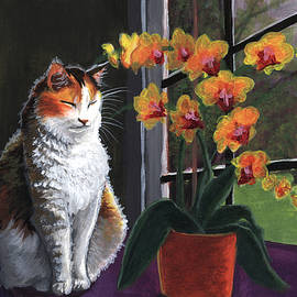 Long Studios - Calico Cat with Orchids