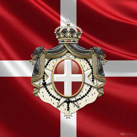 Order of Malta Coat of Arms over Flag