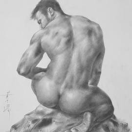 Hongtao Huang - Original Charcoal Drawing Art Male Nude On Paper #16-3-18-04