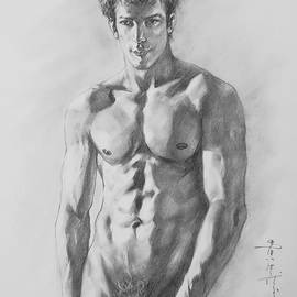 Hongtao     Huang - Original  Drawing Artwork Male Nude Gay Interest Man Body On Paper #608