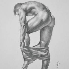 Hongtao     Huang - Original Drawing Sketch Charcoal Pencil Gay Interest Man Art  On Paper #11-17-14