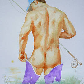 Hongtao Huang - Original Watercolour Painting Art Male Nude Gay  Men  On Paper #16-2-11-01