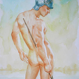 Hongtao Huang - Original Watercolour Painting Art Male Nude,on Paper #16-3-11-06