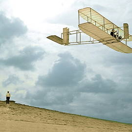 Thomas Pollart - Orville Wright soars above Kill Devil Hill
