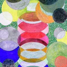 Heidi Capitaine - Overlapping Ovals and Circles on Green Dotted Ground
