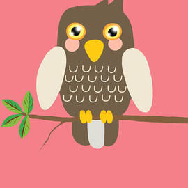 Kendall Tabor - Owl On a Branch pink