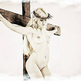 Ramon Martinez - Painted female crucifix X
