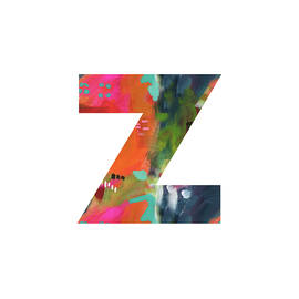 Painted Letter Z-monogram Art By Linda Woods by Linda Woods