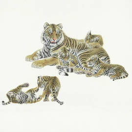 asian art - painting A group of tigers