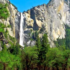 Painting Of Bridalveil Falls Yosemite National Park by Bob and Nadine Johnston