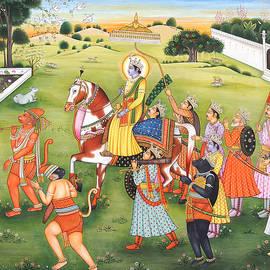 B K Mitra - Painting of  Epic Ramayana, Lord Rama Hanuman Indian Miniature painting, Watercolor Artwork India