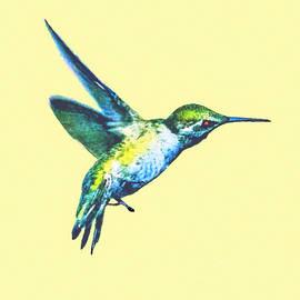 Painting Of Hummingbird In Flight by Dr Bob Johnston