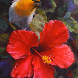 Palila and Hibiscus - Hawaiian Painting by K Whitworth