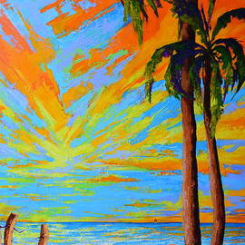 Patricia Awapara - Florida Palm Trees, Tropical Beach, Colorful Sunset Painting