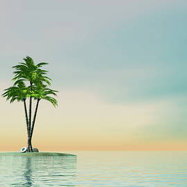 Elenarts - Elena Duvernay Digital Art - Palm trees on an island in middle of the ocean - 3D render