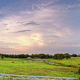 Panorama of Bales of Hay in a Field - Chappell Hill Texas by Silvio Ligutti
