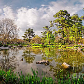 Panorama of Late Afternoon at the Houston Japanese Garden in Hermann Park - Houston Texas by Silvio Ligutti