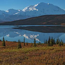 Panorama Of Wonder Lake In Denali National Park by Brenda Jacobs