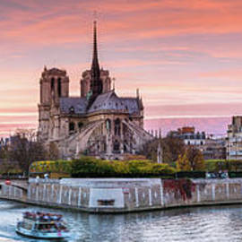 Panoramic Of River Seine And Notre Dame At Sunset, Paris by Matteo Colombo
