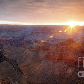 Panoramic Sunrise Over Mather Point, Grand Canyon, Usa by Matteo Colombo