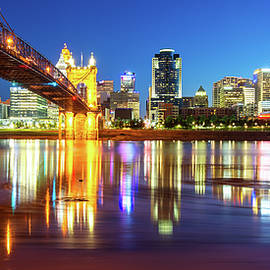Panoramic View of Cincinnati Ohio - Colorful City Skyline by Gregory Ballos