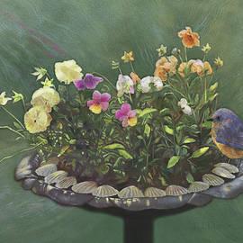 Nancy Lee Moran - Pansies and Bluebird