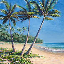 Tropical Paradise Landscape - Hawaii Beach and Palms Painting by K Whitworth