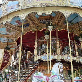 Paris Carousels - Paris Merry Go Round Carousel Horses  by Kathy Fornal