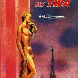 Paris Fly TWA - Trans World Airlines - Eiffel Tower - Retro travel Poster - Vintage Poster - Studio Grafiikka