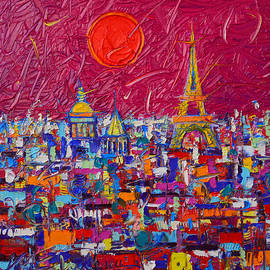 Paris Full Moon Abstract Cityscape Impasto Modern Impressionist Palette Knife Oil Ana Maria Edulescu
