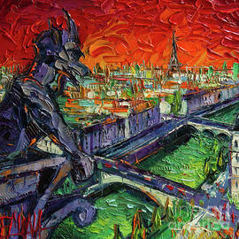 Mona Edulesco - PARIS GARGOYLE CONTEMPLATION Textural Impressionist Stylized Cityscape