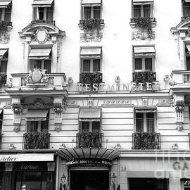 Paris Hotel Westminster Black and White Photography - Paris Cartier Shop - Paris Windows - Kathy Fornal