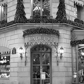 Paris Laduree Christmas Lights - Laduree Patisserie Black and White Print - Laduree Holiday Lights - Kathy Fornal