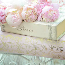 Paris Peonies Shabby Chic Dreamy Pink Peonies Romantic Cottage Chic Paris Peonies and Books by Kathy Fornal