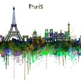 Paris Skyline watercolor by Marian Voicu