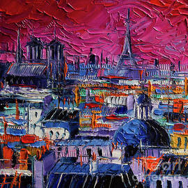 Mona Edulesco - PARISIAN ROOFS modern impressionist stylized cityscape palette knife impasto oil painting
