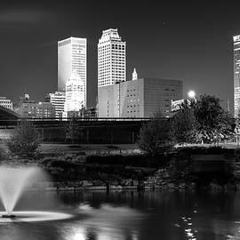 Gregory Ballos - Park View of the Tulsa Skyline Black and White - Oklahoma USA