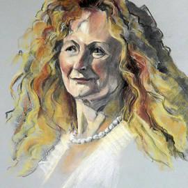 Greta Corens - Pastel Portrait of Woman with Frizzy Hair