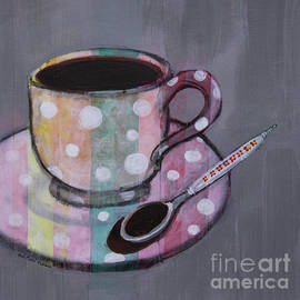 Pastel Stripes Polka Dotted Coffee Cup by Robin Pedrero