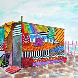 Patchwork Pad -- Whimsical Colorful Shack by Jayne Somogy
