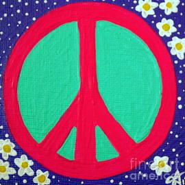 Jackie Carpenter - Peace Love Sign Daisies Flower Hippies Love Pink Purple Yellow Aqua