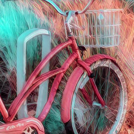 Peach and Aqua Beach Bike by Debra and Dave Vanderlaan